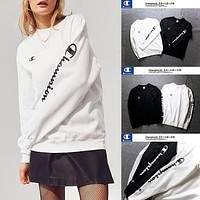 Champion Loose Round Neck Letters Printed Sweater