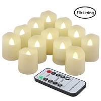 Flameless Candles Tea Lights with Remote Votive LED Flickering Tea Light with Timer, Realistic TeaLights Fake Warm White Candles, Battery Operated Candle 200 Hours Holiday Decor 12 Set x 1.8""