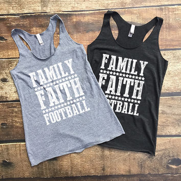 Family Faith Football Racerback Tank Top for Women