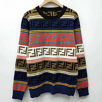 Fendi F Striped Color Letter Round Neck Collar Knitted Sweater-14