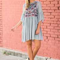 Detailed Dreams Dress, Cool Gray