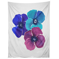 Laura Trevey Jewel Tone Pansies Tapestry