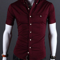 Shirt Collar Button Down Short Sleeves Shirt