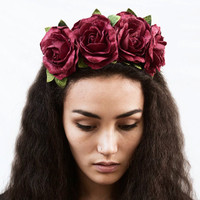 Frida Kahlo Rose Crown, Burgundy, Velvet, Christmas, Crown, Frida Kahlo Headpiece, Dia de los Muertos, Flower Crown, Floral Crown,  Headband