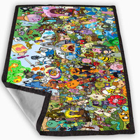 Adventure Time Inspired All Characters Blanket for Kids Blanket, Fleece Blanket Cute and Awesome Blanket for your bedding, Blanket fleece **