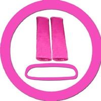 Hot pink steering wheel cover, seat belt covers and rear view mirror cover.