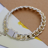 MB1  925 Sterling Silver Men Jewelry Bracelet Silver Interval Gold 10mm Male Bracelets Grain Square Homme Men's Chain Jewellery