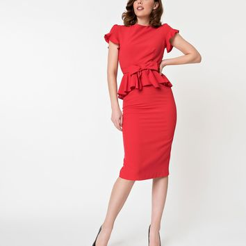 Stop Staring! Red Peplum Top Willow Wiggle Dress