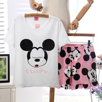 Womens Pajamas Sets Polyester Short-Sleeve Top And Shorts Pajama Set Sleepy Cartoon Print Waist Shorts Female Sleepwear