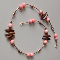 Long Pink and Wood Necklace