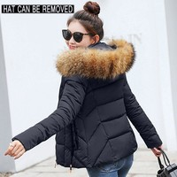 Trendy 2018 Winter Jacket women Plus Size Womens Parkas Thicken Outerwear solid hooded Coats Short Female Slim Cotton padded basic tops AT_94_13