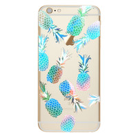 Sky Blue Fruit Pineapple TPU Soft Silicon Transparent Clear Back Case Cover for Apple iPhone 4 4s 5 5s 5c SE 6 6s 6 Plus 6s Plus 7 & 7 Plus