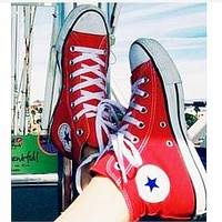 "C ""Converse"" Fashion High tops Wine red Canvas Flats Sneakers Sport Shoes Red"