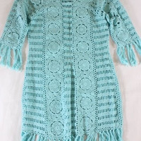 "~~~ BEACH BOHO! ~~~ LETARTE AQUA ""CROCHET/OPEN KNIT"" FRINGE TRIM DRESS ~~~ XS"