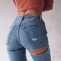 CWLSP 2017 Women Jeans Ninth Pants Bottom Back Ripped Holes jeans Female Scratched Tassel Hem Trousers woman Pencil Pants QL2939