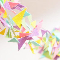 Pastel triangle felt garland banner, Pink, Mint, Lilac, Yellow, Birthday Party Decorations