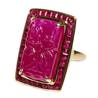 Jade Jagger Carved Ruby with Ruby Surround Gold Ring (Size 6.75)