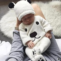 3Pcs born Baby Girls Boy Long Sleeve Pullovers Top Footies Pants Hat Outfits Set Fluffy Cute Cartoon Winter Warm Clothes
