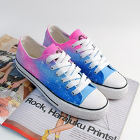 A 091033 Tie-Dye Gradient Harajuku Star Canvas Shoes