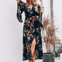 Simplee Floral Print Flounce Sleeve Wrap Belted Dress