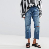 One Teaspoon Hooligan Crop Flare Jeans with Raw Hem at asos.com
