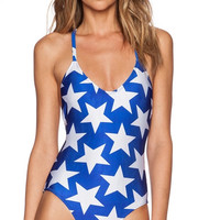 Blue Stars Printed Halter Swimsuit