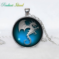 DRAGON PENDANT dragon necklace Fantasy blue dragon jewelry Gifts for Him  Jewelry  Pendant Art Gifts for Her