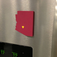 """Arizona State Sun Devils """"State Heart"""" magnet, handcrafted wood with official team colors"""