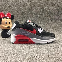 Nike Air Max 90 Child Shoes Black White Grey Red Toddler Kid Shoes