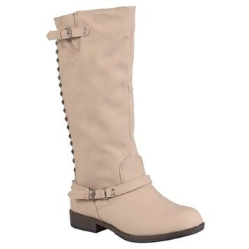 Journee Collection Womens Tall Buckle Studded Boots