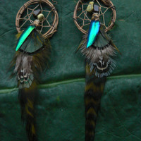 feather and jeweled beetle dreamcatcher earrings turquoise tigers eye in native american inspired tribal boho belly dancer and hipster style