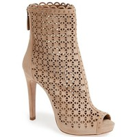 Prada Laser Cut Peep Toe Ankle Boot