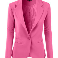 LE3NO Womens Slim Fit Single Button Tailored Boyfriend Blazer Suit Jacket (CLEARANCE)