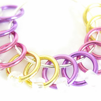 Extra Small Stitch markers for socks | Lace stitch marker | Seam free stitch markers | Knitting tools | purple, pink, yellow | #0500