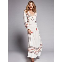 """Embroidered Boho Maxi Dress """"Mystical"""" White With Colorful Embroidery Bohemian Tassel Ties XS Small Medium Large Or Extra Large XL"""