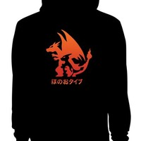 Charizard Fire Evolution Black Hoodies, Size X-large