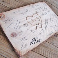 Rustic Wedding Guest Book Alternative, Wedding sign, Bridal Shower, Anniversary Party - wood burned heart w bride & groom initials, date