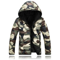 Reversible Camouflage Zip Up Puffer Jacket with Hood