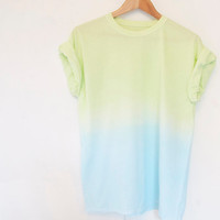 Lime to light turquoise Unisex Pastel Ombre Dip Dye by OhMyDays