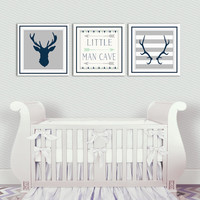 Baby Boy Nursery Decor - Antlers - Deer Head - Arrows - Little Man Cave - Navy - Grey - Three Prints - Art for little boys room
