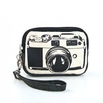 Wristlet - Vintage Camera Graphic Canvas Wristlet
