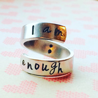 I am enough semicolon inside aluminum spiral style ring 1/4 inch