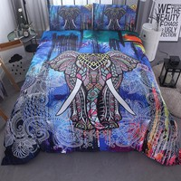 House Queen 2017 New Arrival Elephant Duvet Cover For Twin King Size Bed Bohemia Style Indian Polyester fiber Quilt Cover