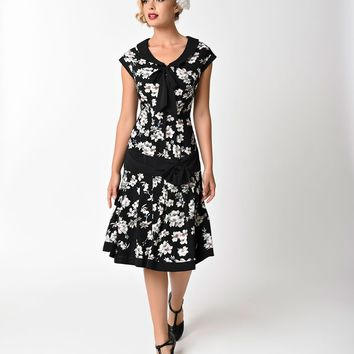 Unique Vintage 1930s Style Black & Ivory Floral Twyla Flapper Day Dress
