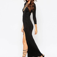 Black Lace Up Long Sleeve Maxi Dress with Slit