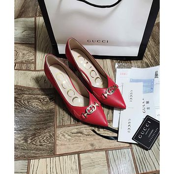 Gucci Women's Leather High-heeled Shoes