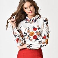 White & Floral Print Long Sleeve Chiffon Collared Blouse