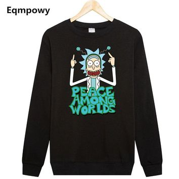 Comic Rick and Morty Free Rick Printing Pullovers Solid Black Thick Warm Fleece Sweatshirt Men Funny Hoodie