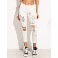 Twisted Truth Distressed Cropped Jeans - White