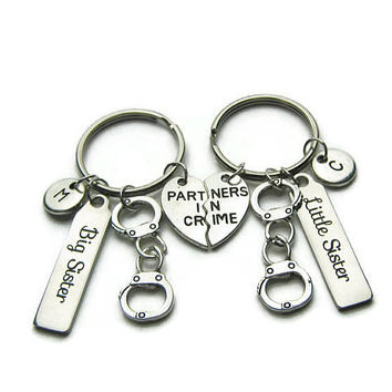 2 Partners In Crime Keychains, Big And Little Sister Keychains, Partners In Crime Sisters Keychains, Sisters Keychains, Personalized